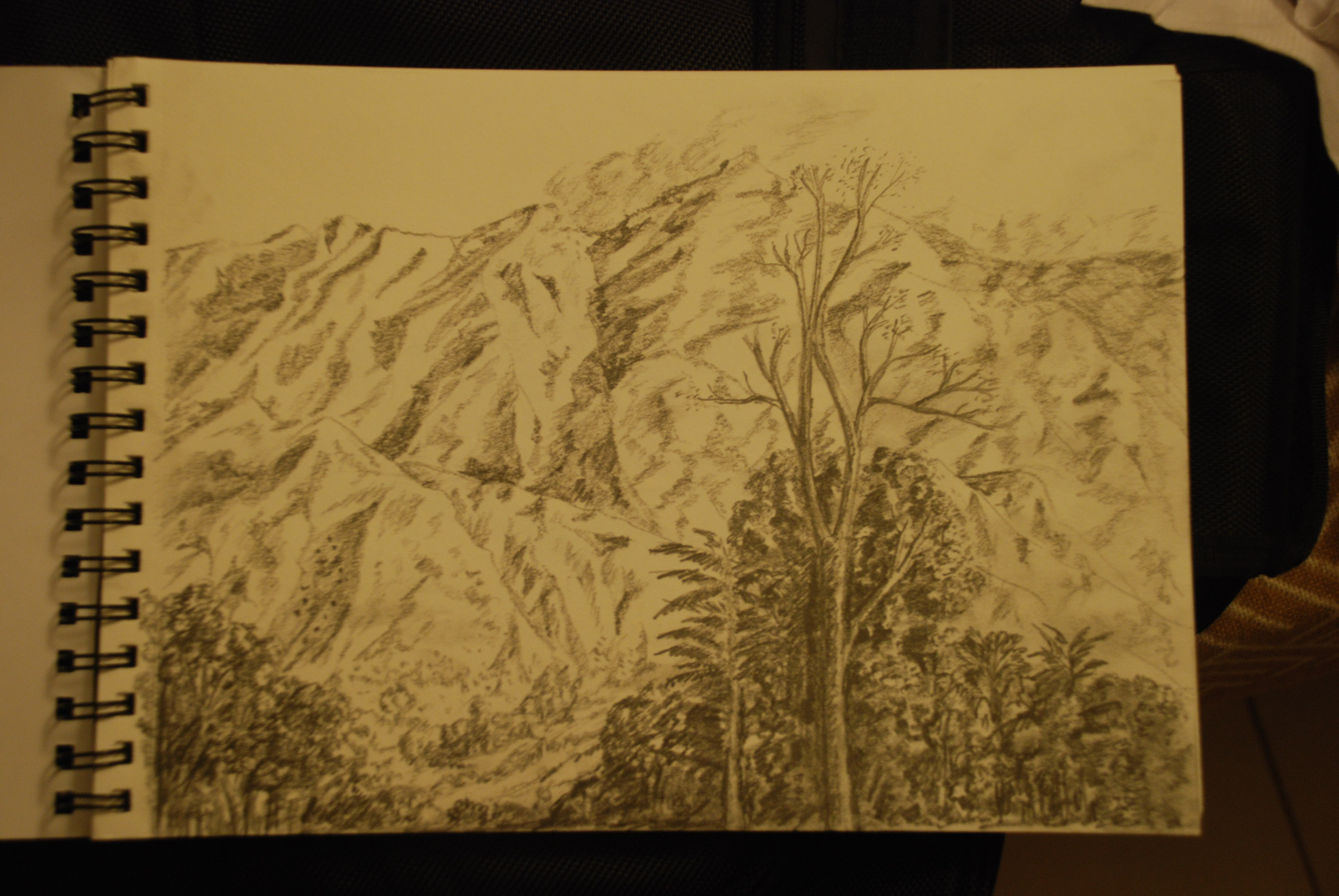 my sketch of the Mussorie Mountains