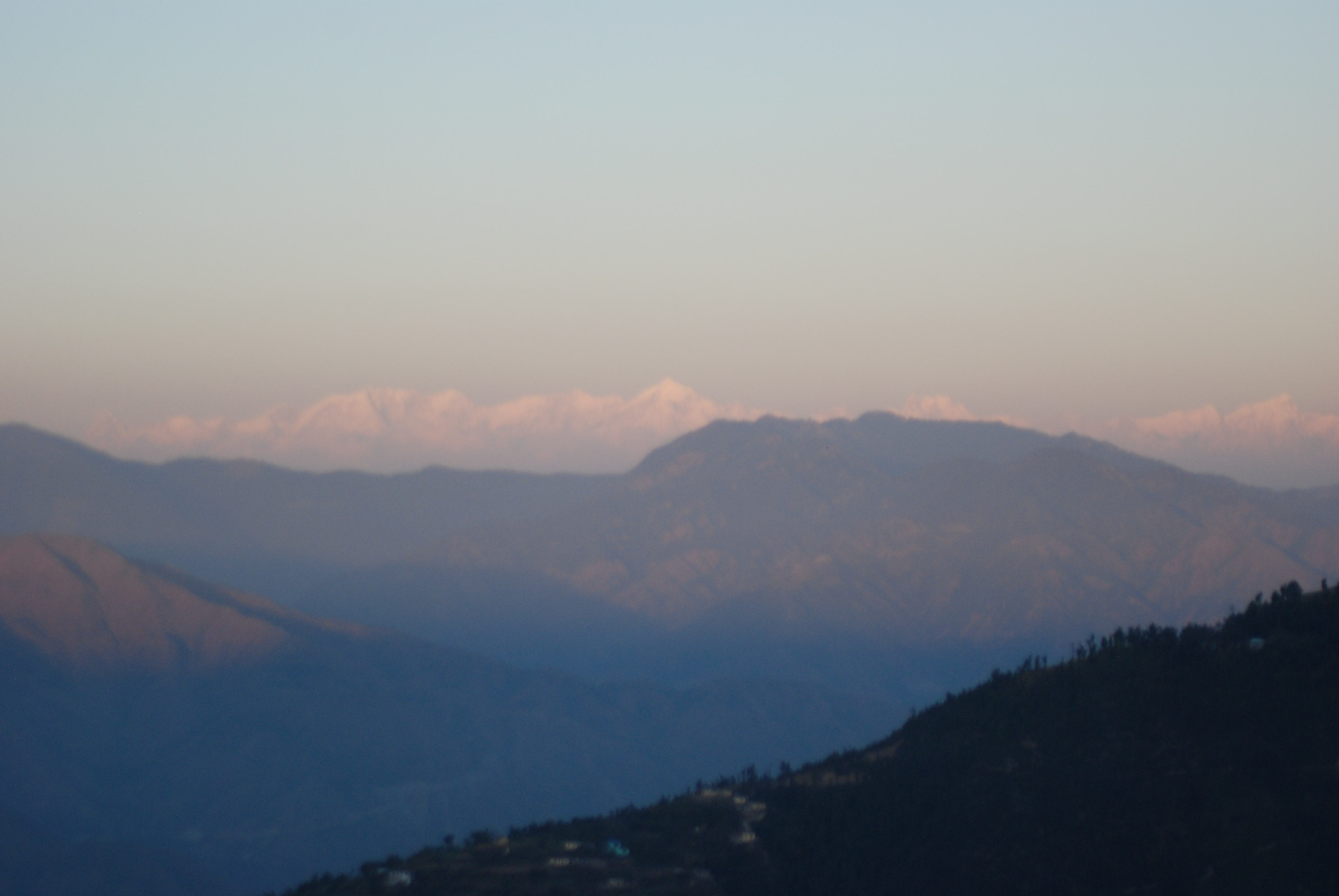 The Mussorie Hills in the evening