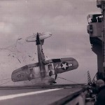 A crash on board an aircraft carrier sometime during World War II