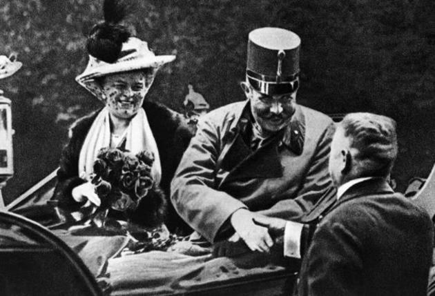 Archduke Franz Ferdinand with his wife on the day they were assassinated in 1914, the event that led to WW-I