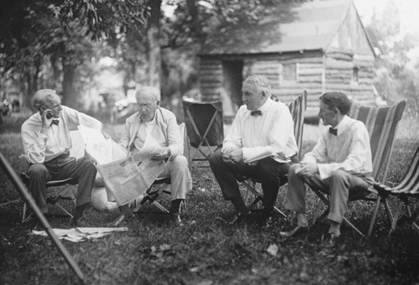 Henry Ford, Thomas Edison , Warren G. Harding and Harvey Samuel Firestone lounging together