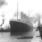 Titanic leaves port in 1912.