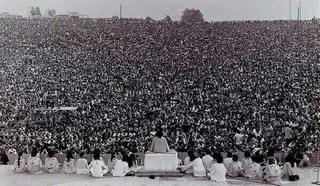 "A few people got together for a ""small party"", Woodstock, 1969."