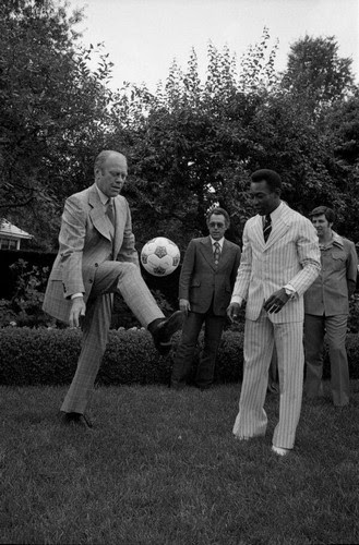 The President had some impressive skills, Gerald R. Ford and Pelé, 1975.