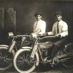 These guys unveiled their motorbikes for the first time, William Harley and Arthur Davidson, 1914.