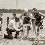 Beach Police officers made sure no swimsuit was higher than 6 inches above the knee, 1922.
