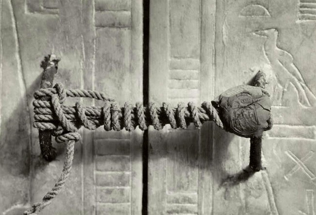 King Tut's slumber was undisturbed and the seal to his tomb was unbroken, 1922.