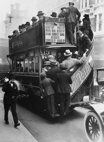 The iconic London buses looked like this, 1928.